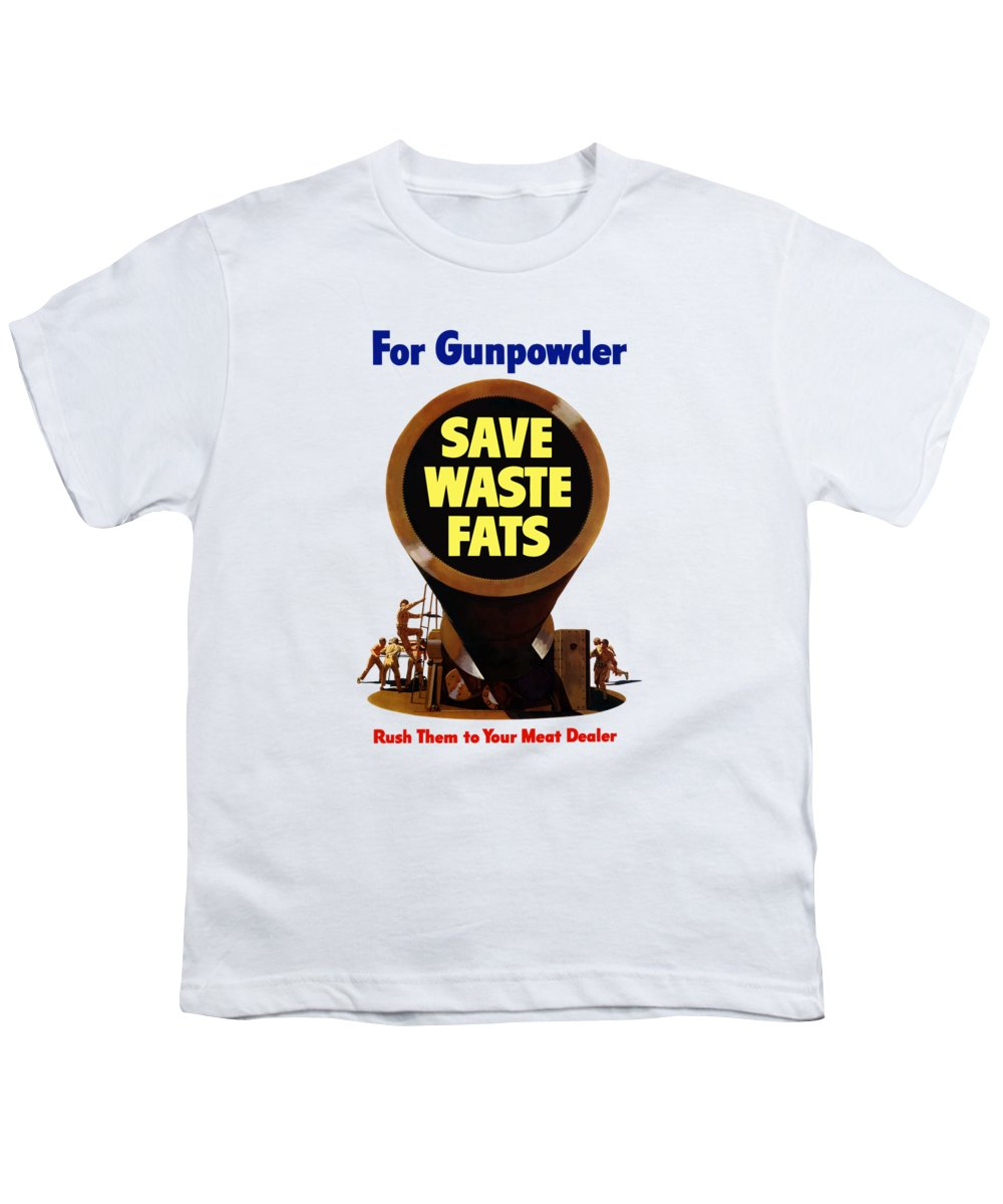 Wwii Youth T-Shirt featuring the painting For Gunpowder Save Waste Fats by War Is Hell Store