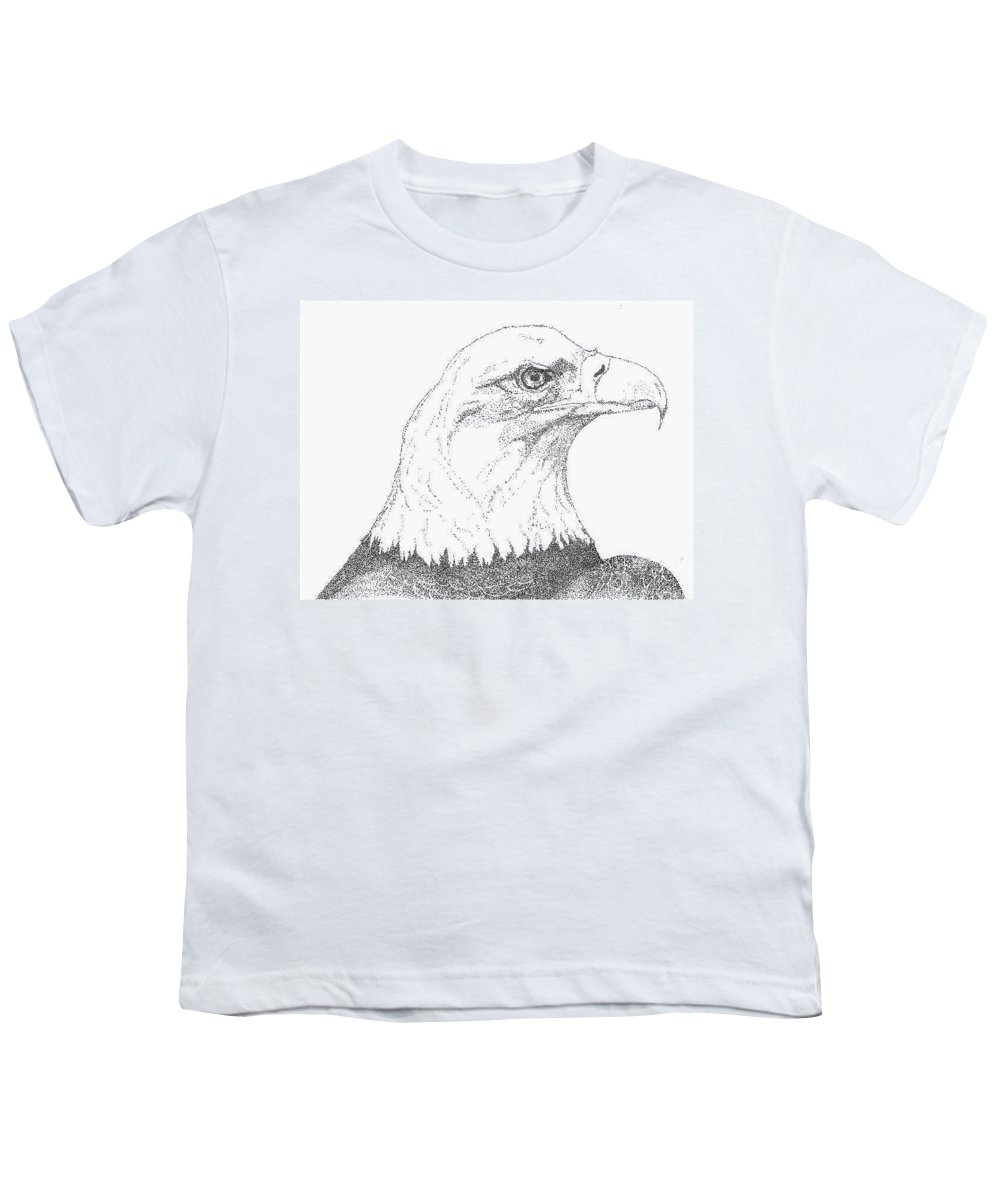 Eagle Youth T-Shirt featuring the drawing Freedom by Debra Sandstrom
