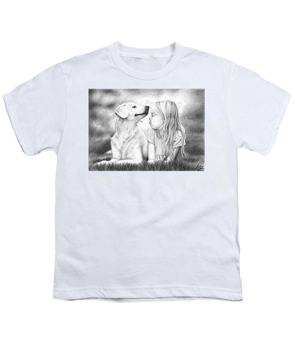 Dog Youth T-Shirt featuring the drawing Friends by Nicole Zeug