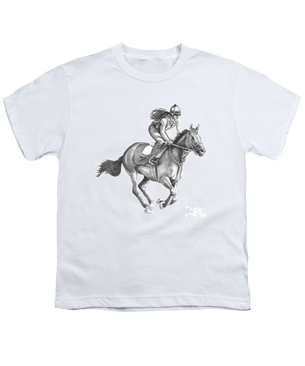 Horse Youth T-Shirt featuring the drawing Full Gallop by Murphy Elliott
