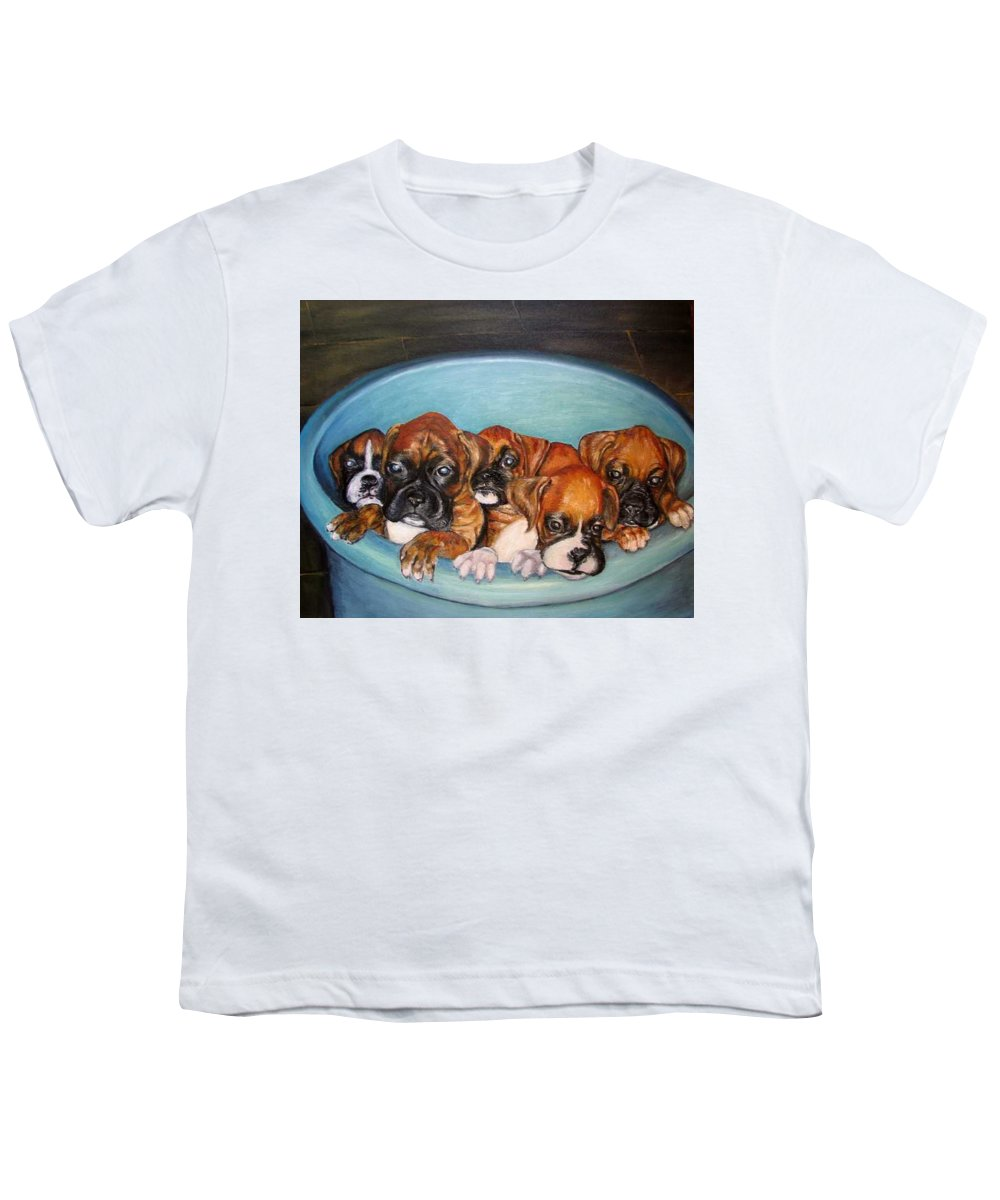 Oil Youth T-Shirt featuring the painting Funny Puppies Orginal Oil Painting by Natalja Picugina