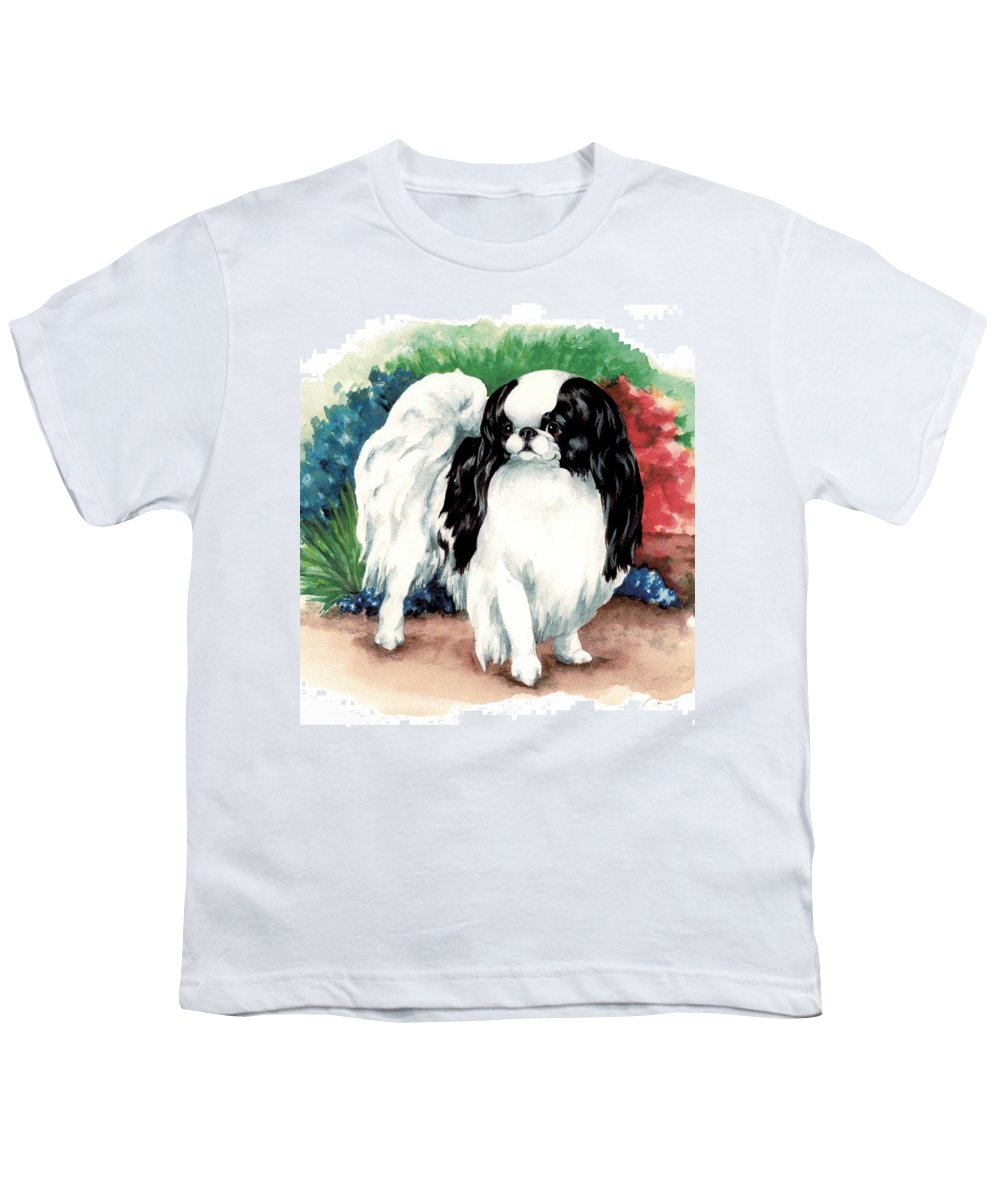 Japanese Chin Youth T-Shirt featuring the painting Garden Chin by Kathleen Sepulveda