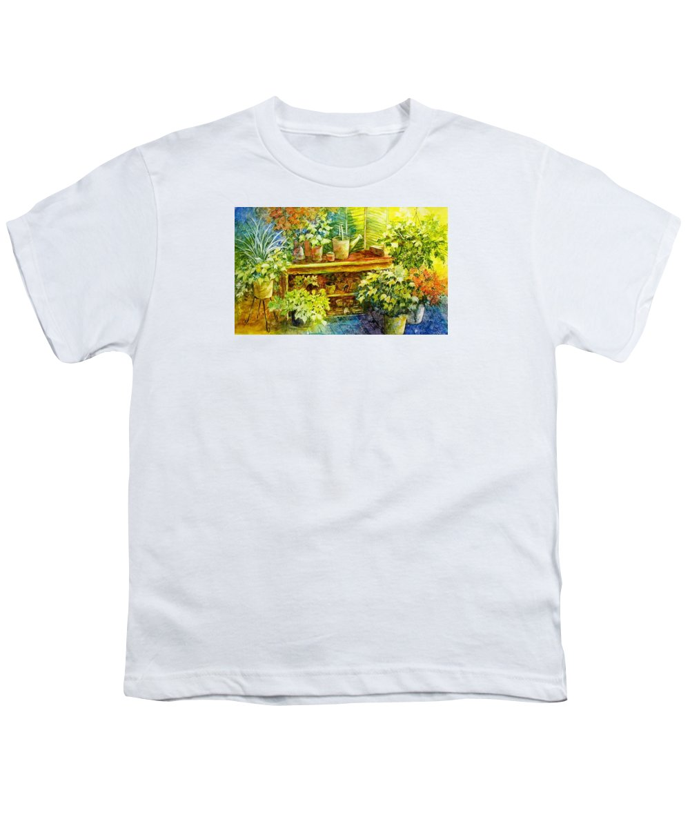 Greenhouse;plants;flowers;gardener;workbench;sprinkling Can;contemporary Youth T-Shirt featuring the painting Gardener's Joy by Lois Mountz