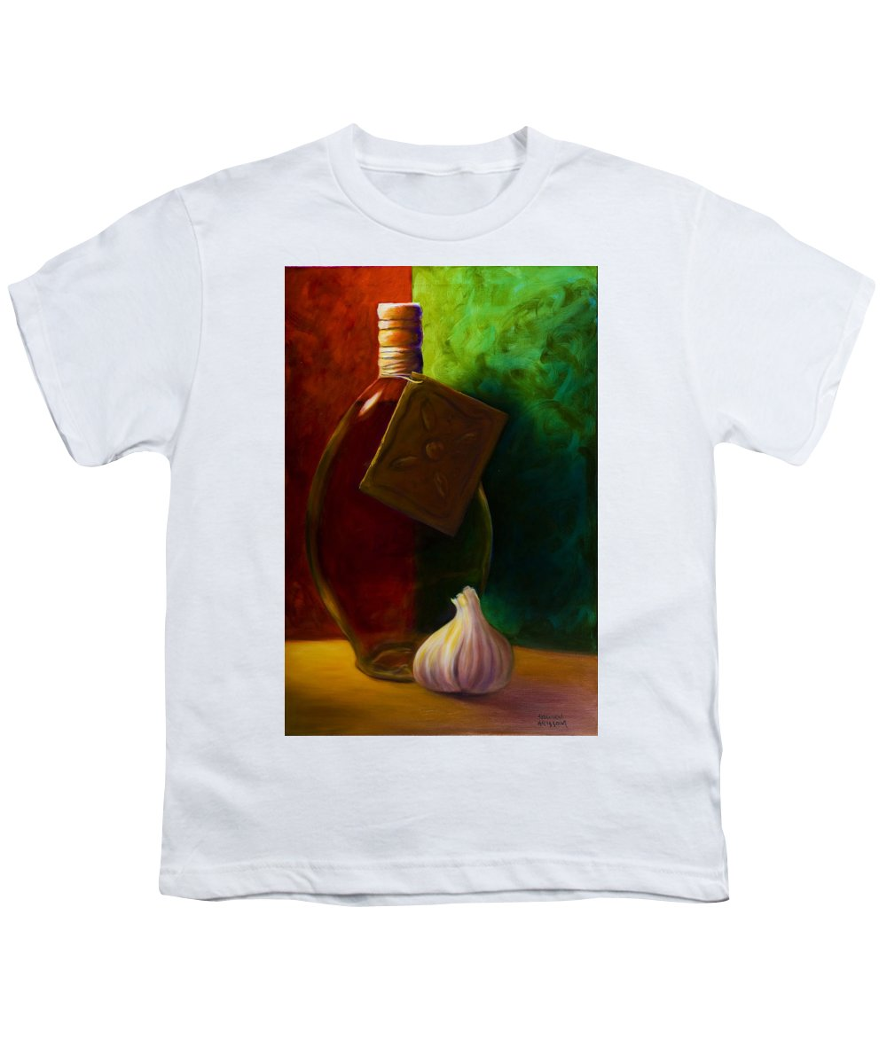 Shannon Grissom Youth T-Shirt featuring the painting Garlic And Oil by Shannon Grissom