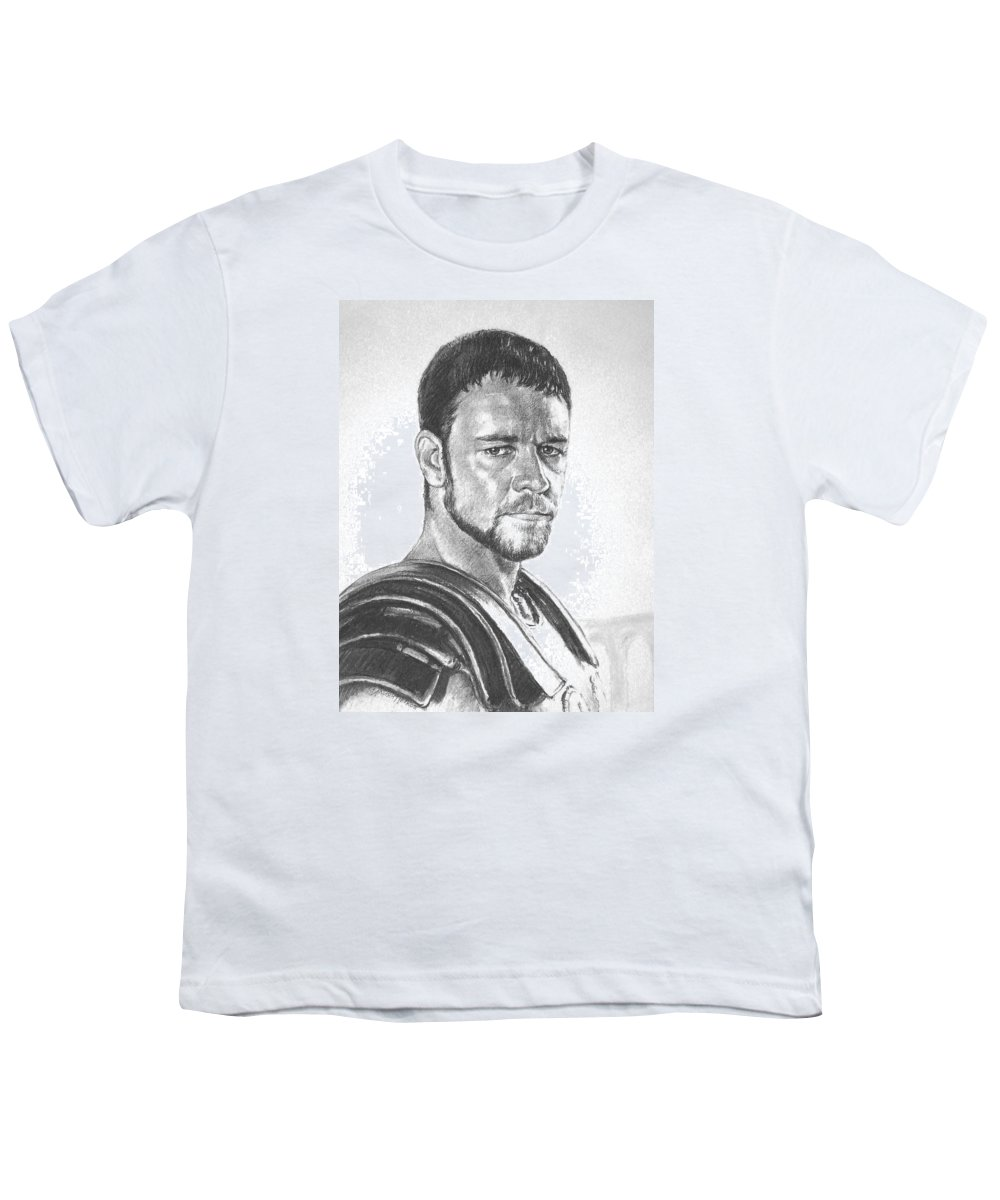 Portraits Youth T-Shirt featuring the drawing Gladiator by Iliyan Bozhanov