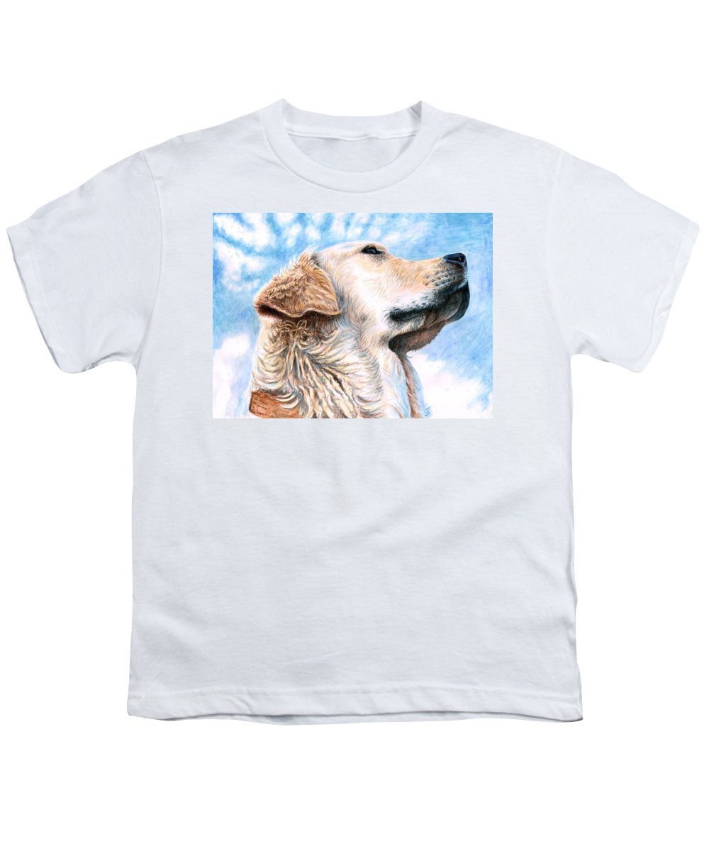 Dog Youth T-Shirt featuring the painting Golden Retriever by Nicole Zeug