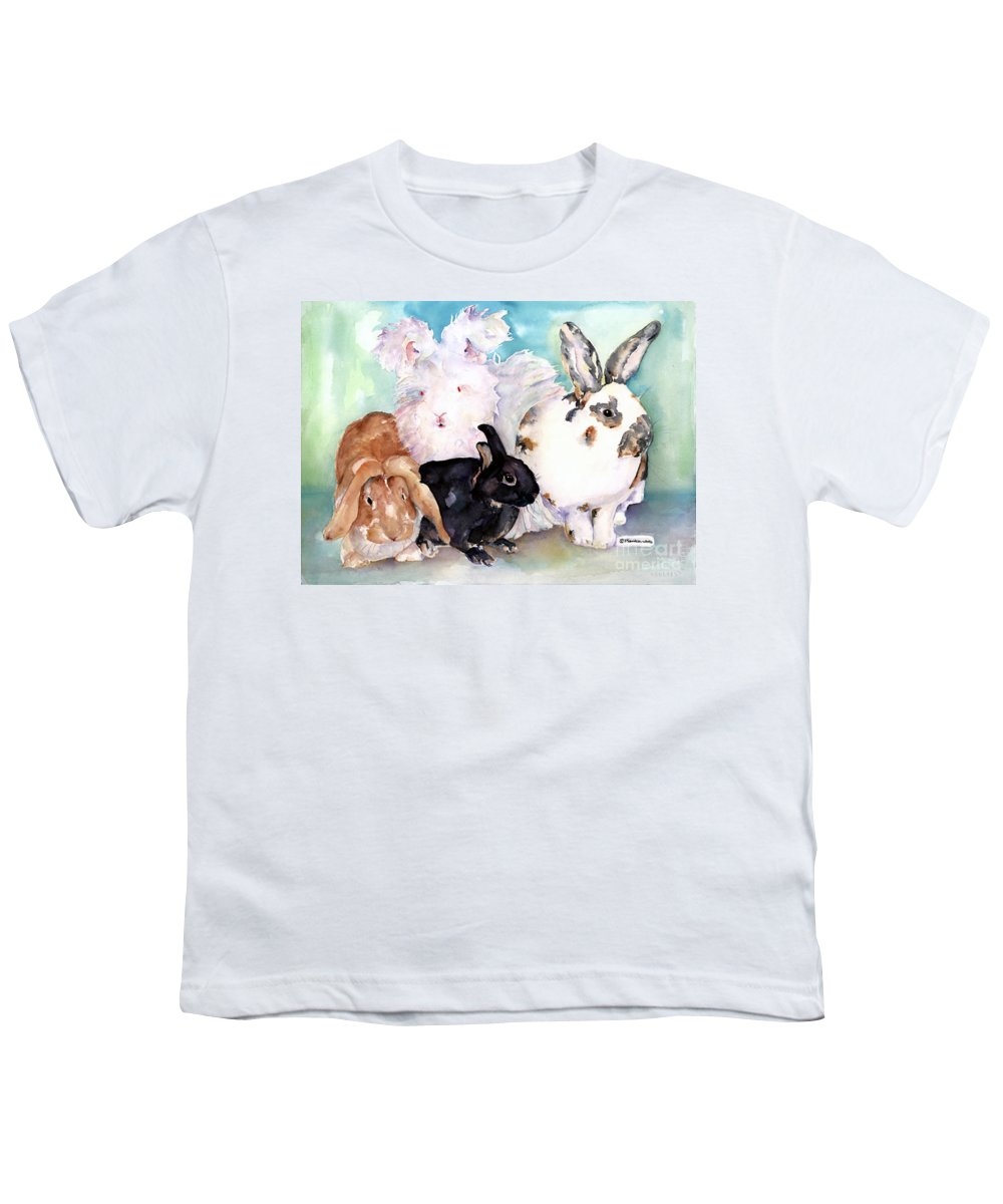 Animal Artwork Youth T-Shirt featuring the painting Good Hare Day by Pat Saunders-White