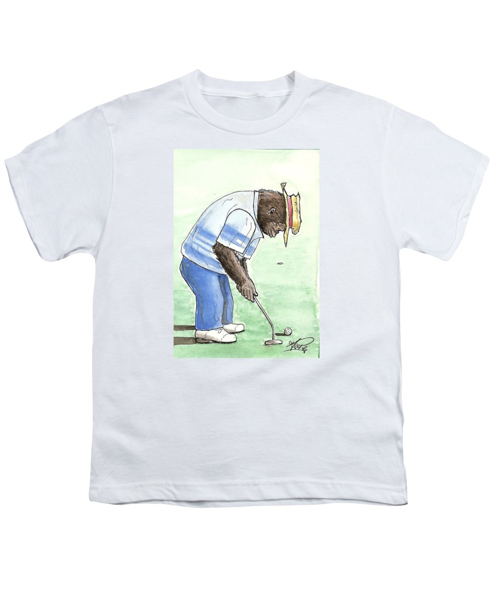 Golf Youth T-Shirt featuring the painting Got You Now by George I Perez