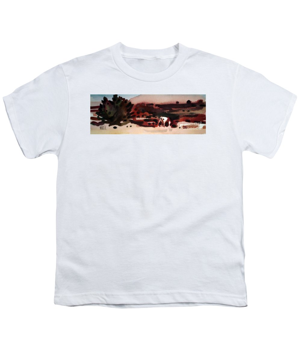 Horse Youth T-Shirt featuring the painting Grazing Pinto by Donald Maier