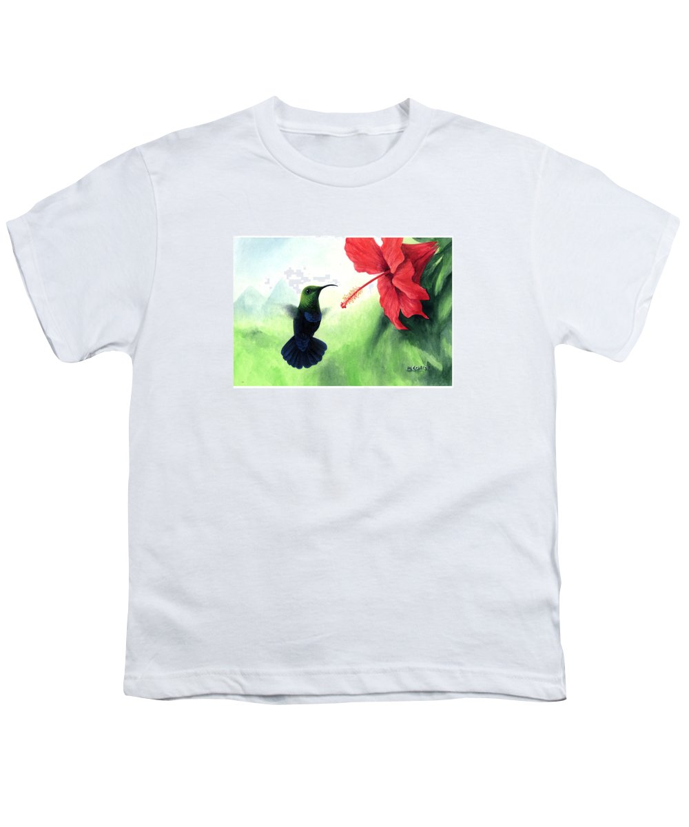Chris Cox Youth T-Shirt featuring the painting Green-throated Carib Hummingbird And Red Hibiscus by Christopher Cox