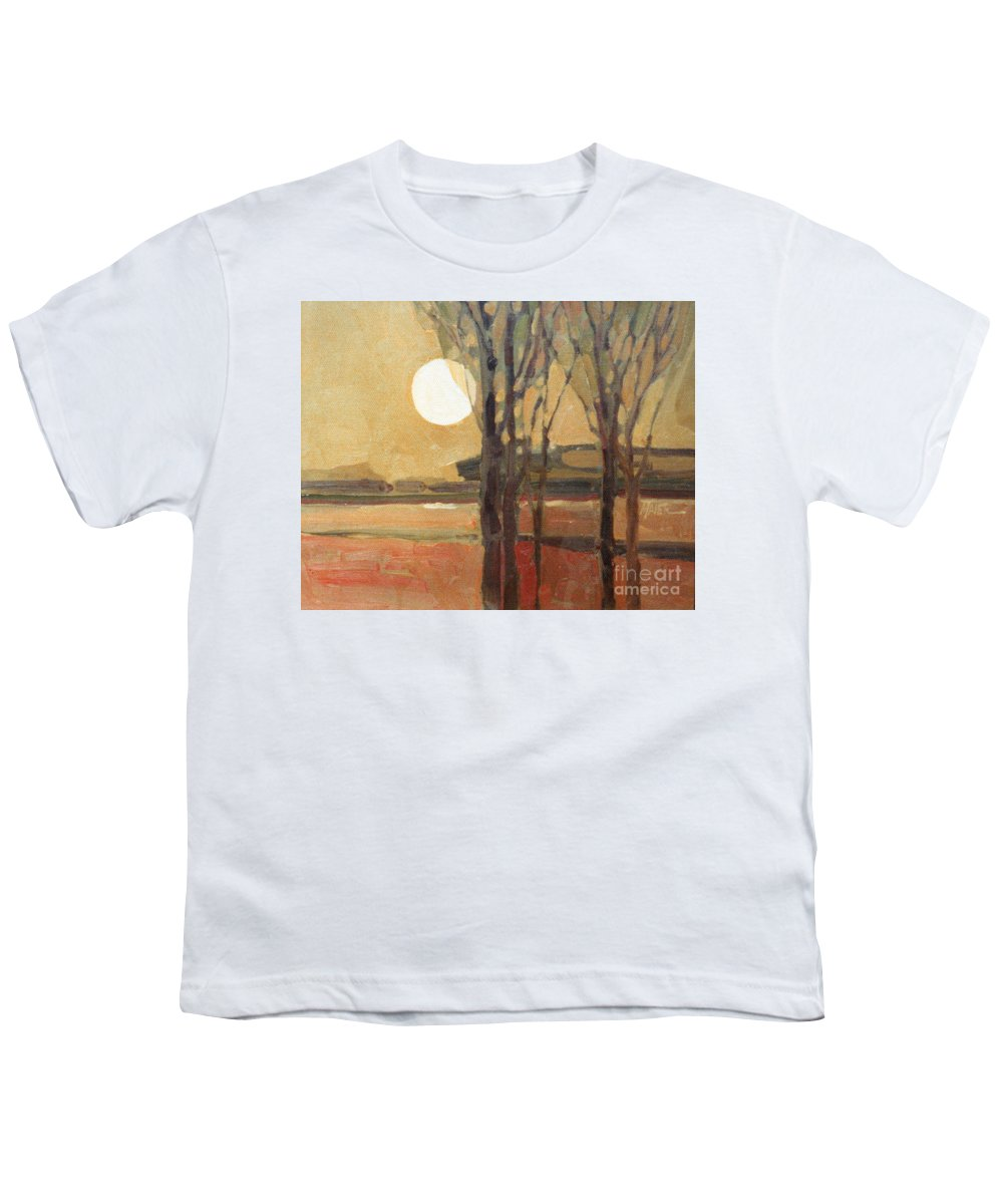 Sunset Youth T-Shirt featuring the painting Harvest Moon by Donald Maier
