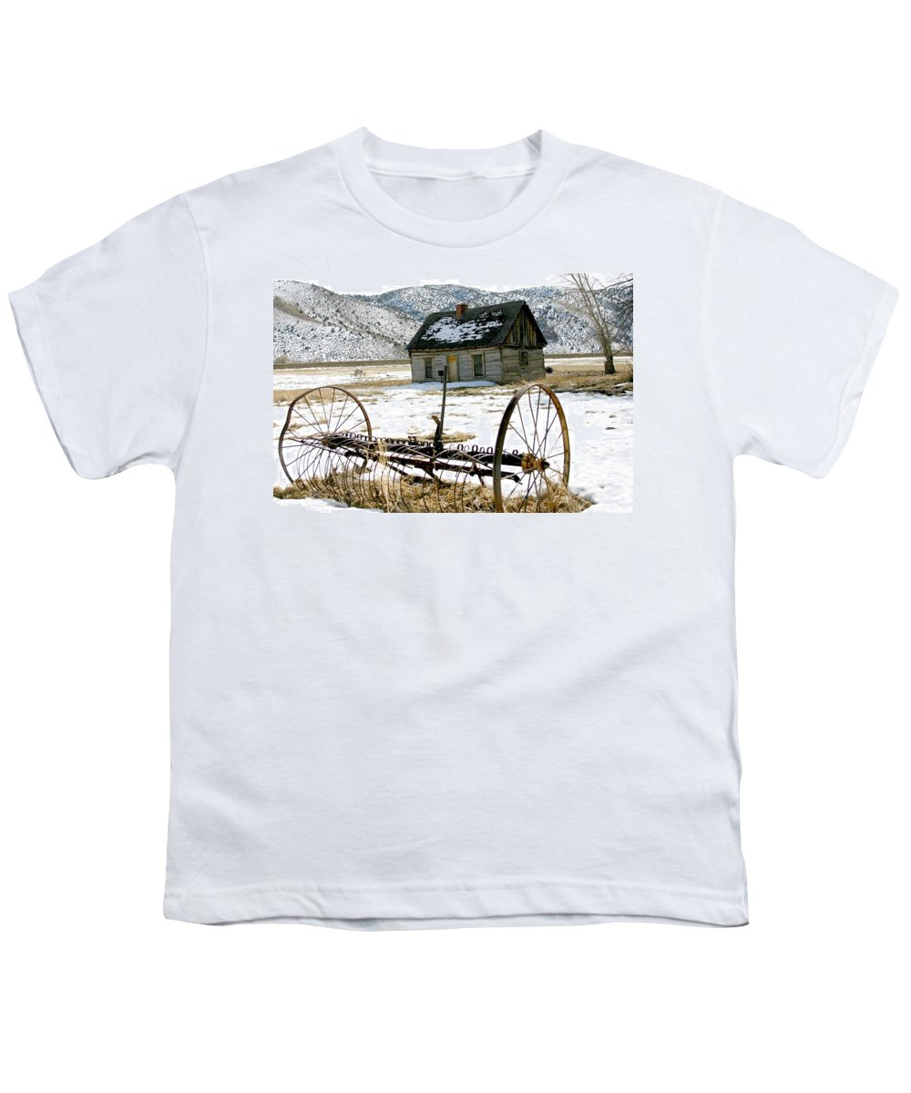 Utah Youth T-Shirt featuring the photograph Hay Rake At Butch Cassidy by Nelson Strong