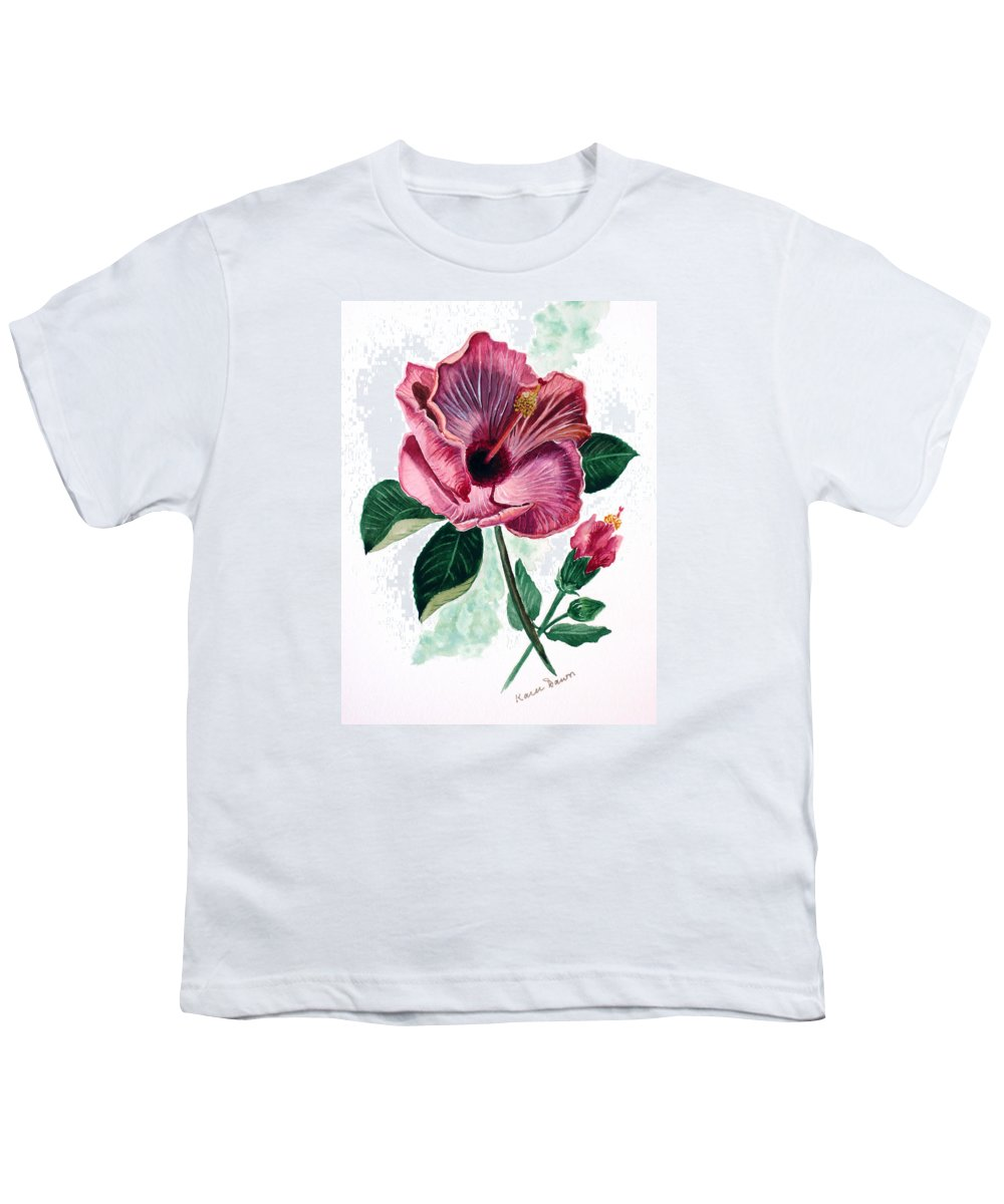 Flora Painting L Hibiscus Painting Pink Flower Painting Greeting Card Painting Youth T-Shirt featuring the painting Hibiscus Dusky Rose by Karin Dawn Kelshall- Best