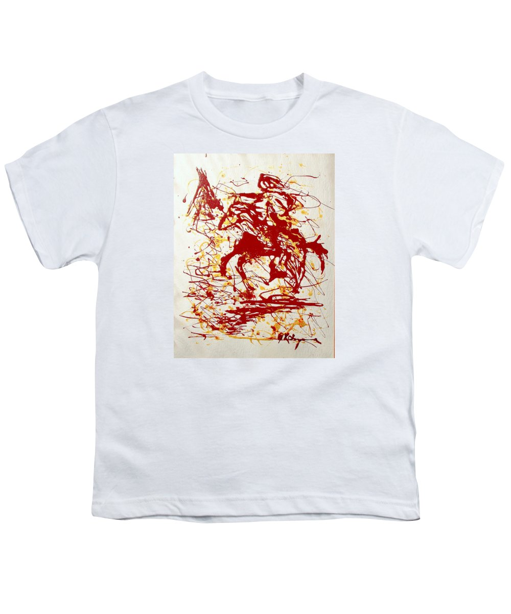 Indian Youth T-Shirt featuring the painting History In Blood by J R Seymour