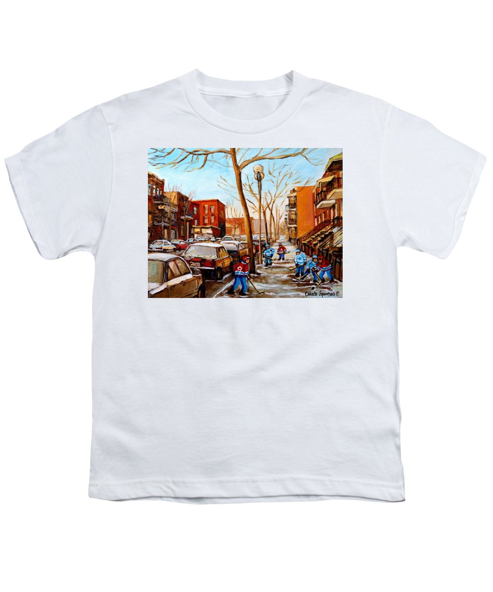 Hockey Youth T-Shirt featuring the painting Hockey On St Urbain Street by Carole Spandau