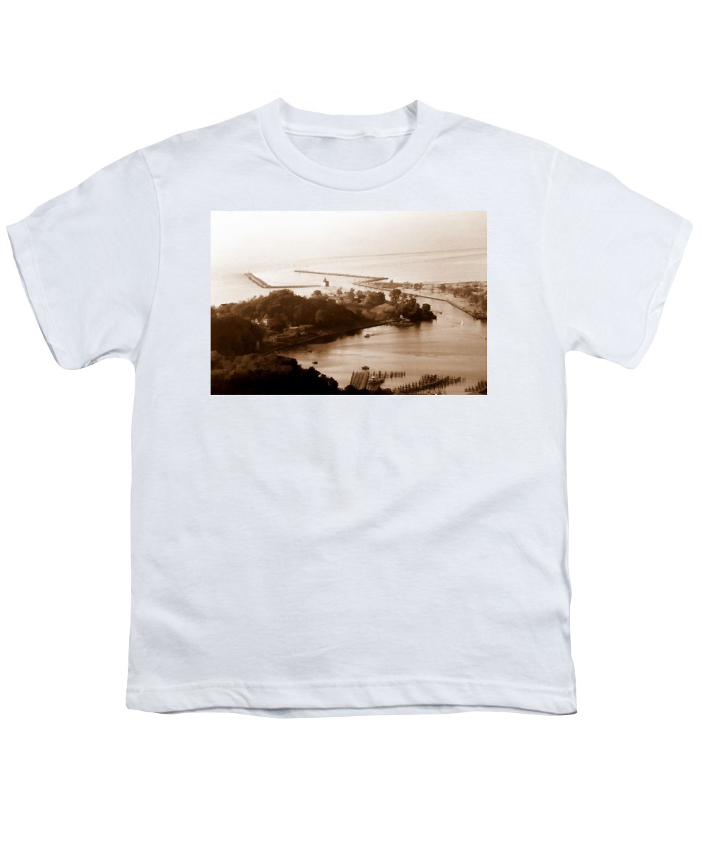 Holland Youth T-Shirt featuring the photograph Holland Michigan Harbor Big Red Aerial Photo by Michelle Calkins