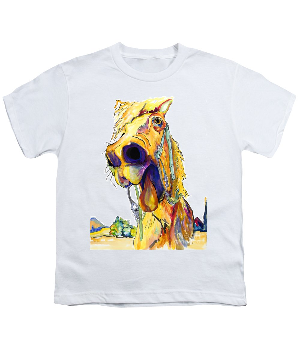 Animal Painting Youth T-Shirt featuring the painting Horsing Around by Pat Saunders-White