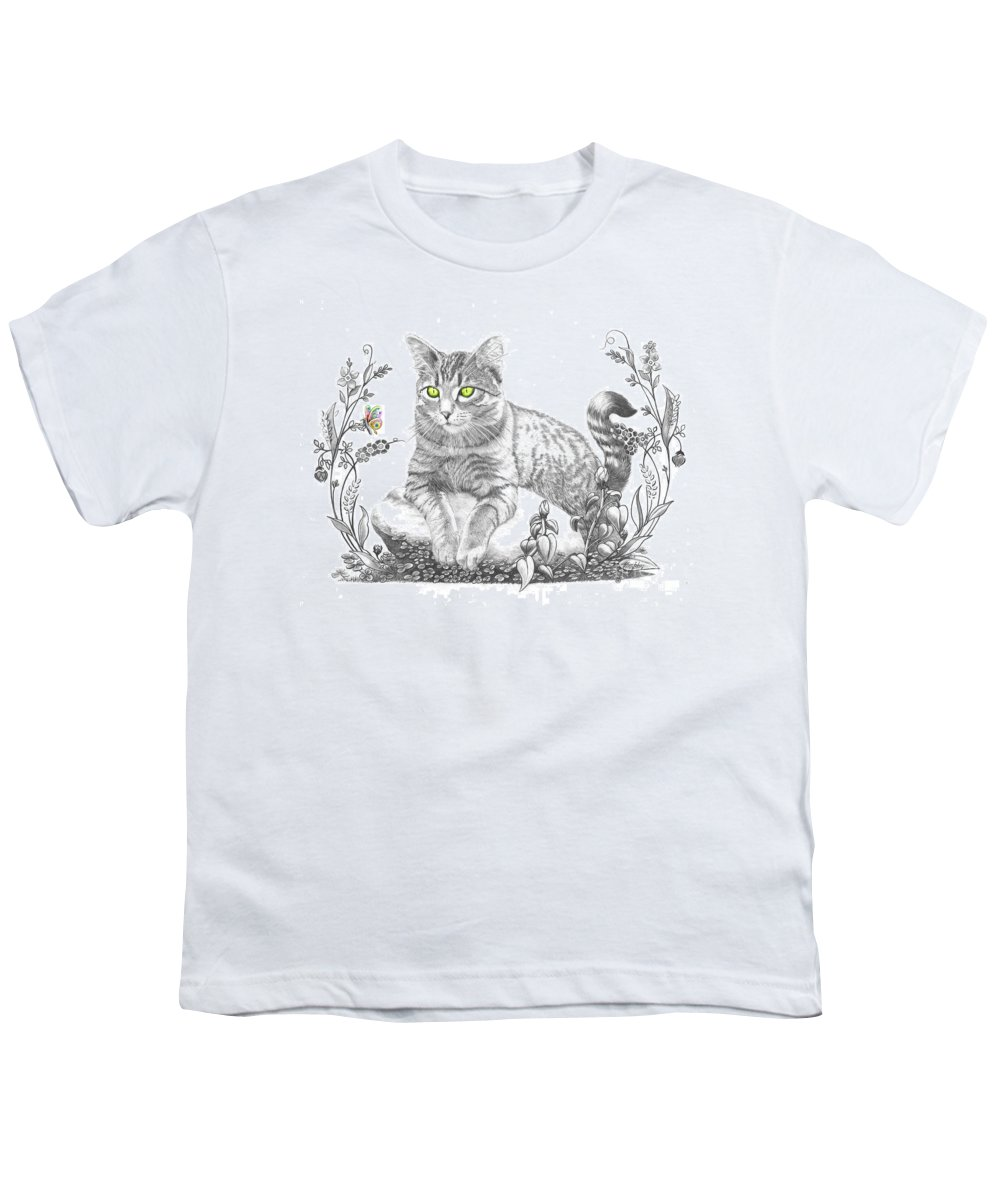 Cat Youth T-Shirt featuring the drawing House Cat by Murphy Elliott