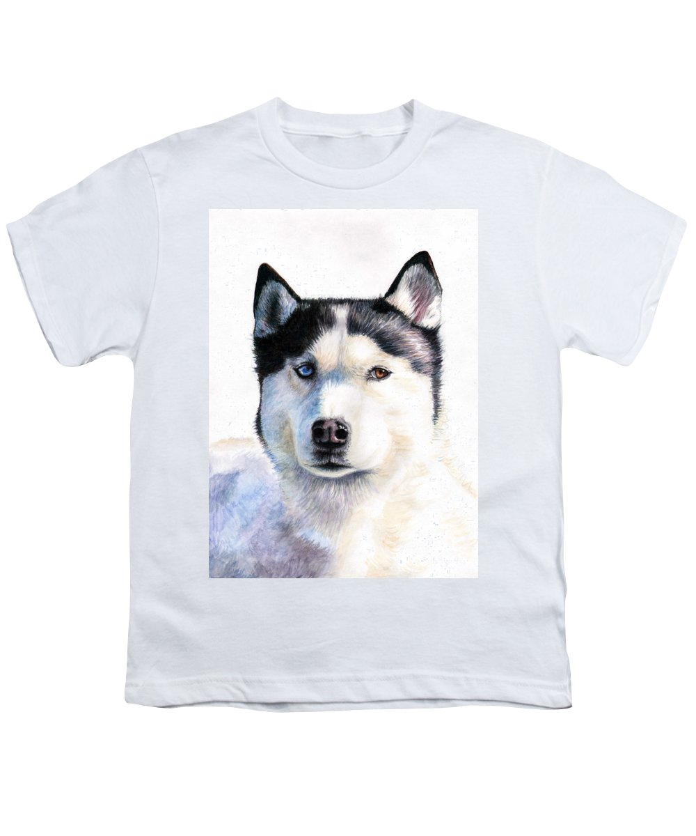 Dog Youth T-Shirt featuring the painting Husky Blue by Nicole Zeug