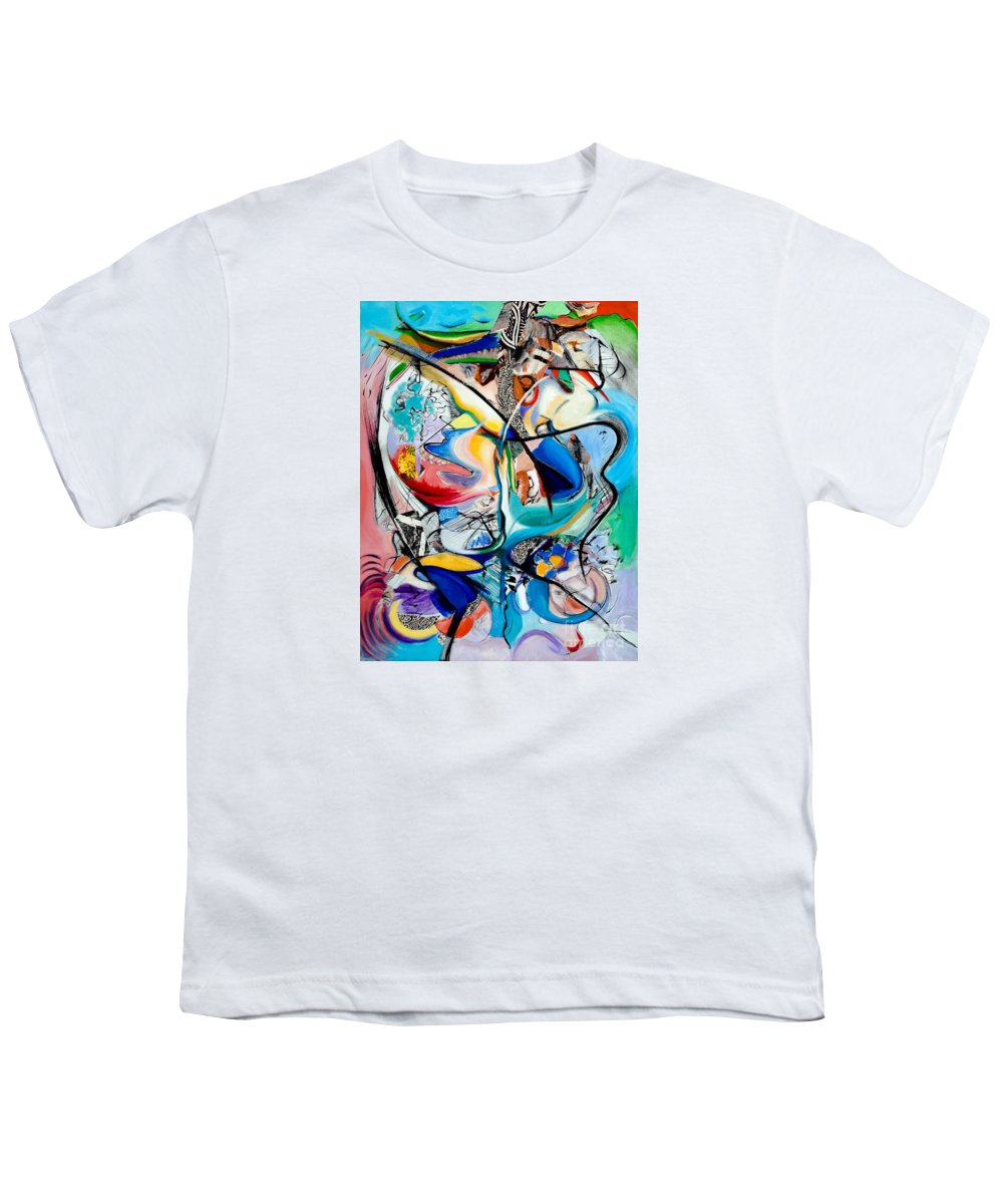 Abstract Youth T-Shirt featuring the painting Intimate Glimpses - Journey Of Life by Kerryn Madsen-Pietsch