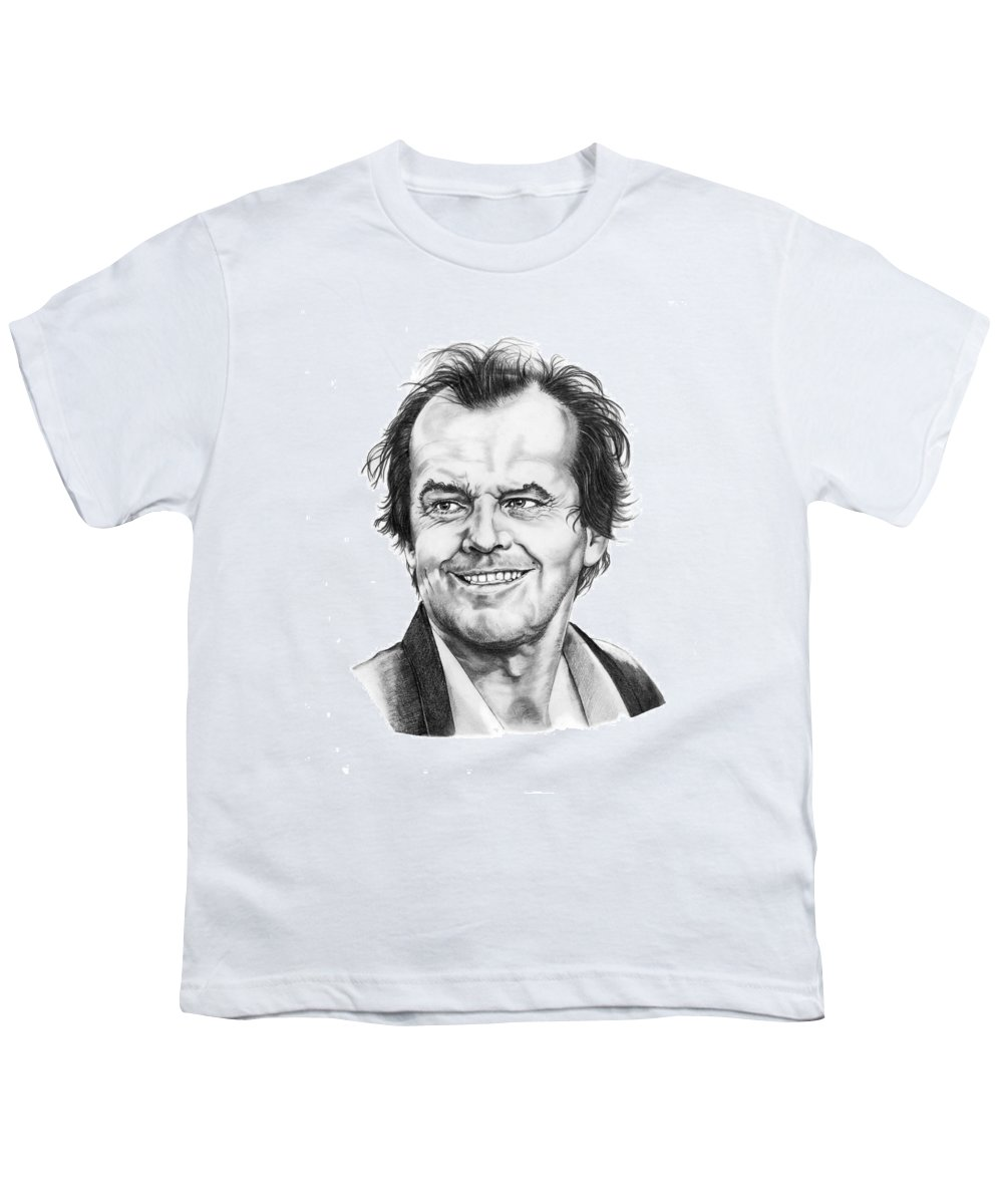 Portrait Youth T-Shirt featuring the drawing Jack Nickolson by Murphy Elliott