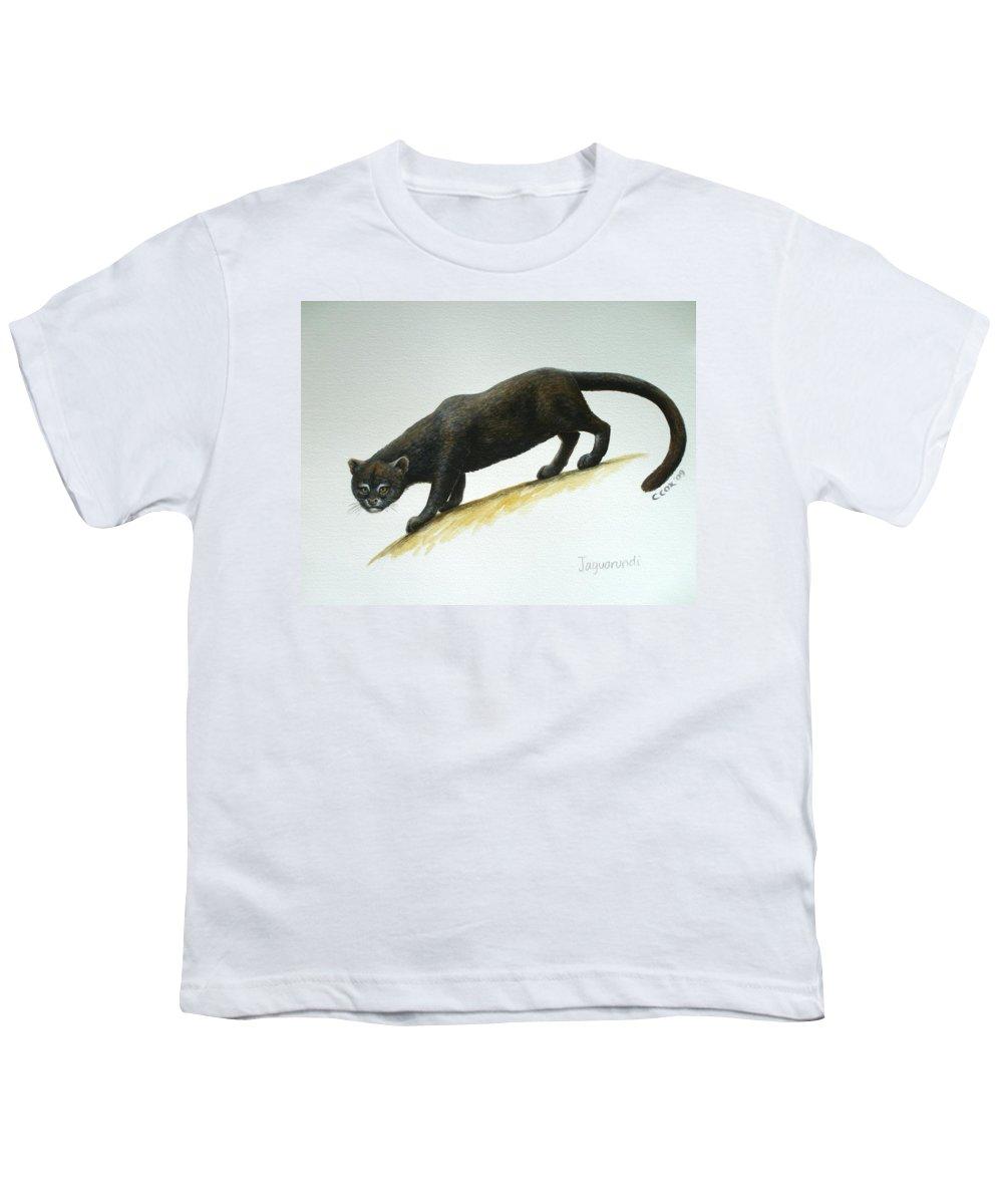 Jaguarundi Youth T-Shirt featuring the painting Jaguarundi by Christopher Cox