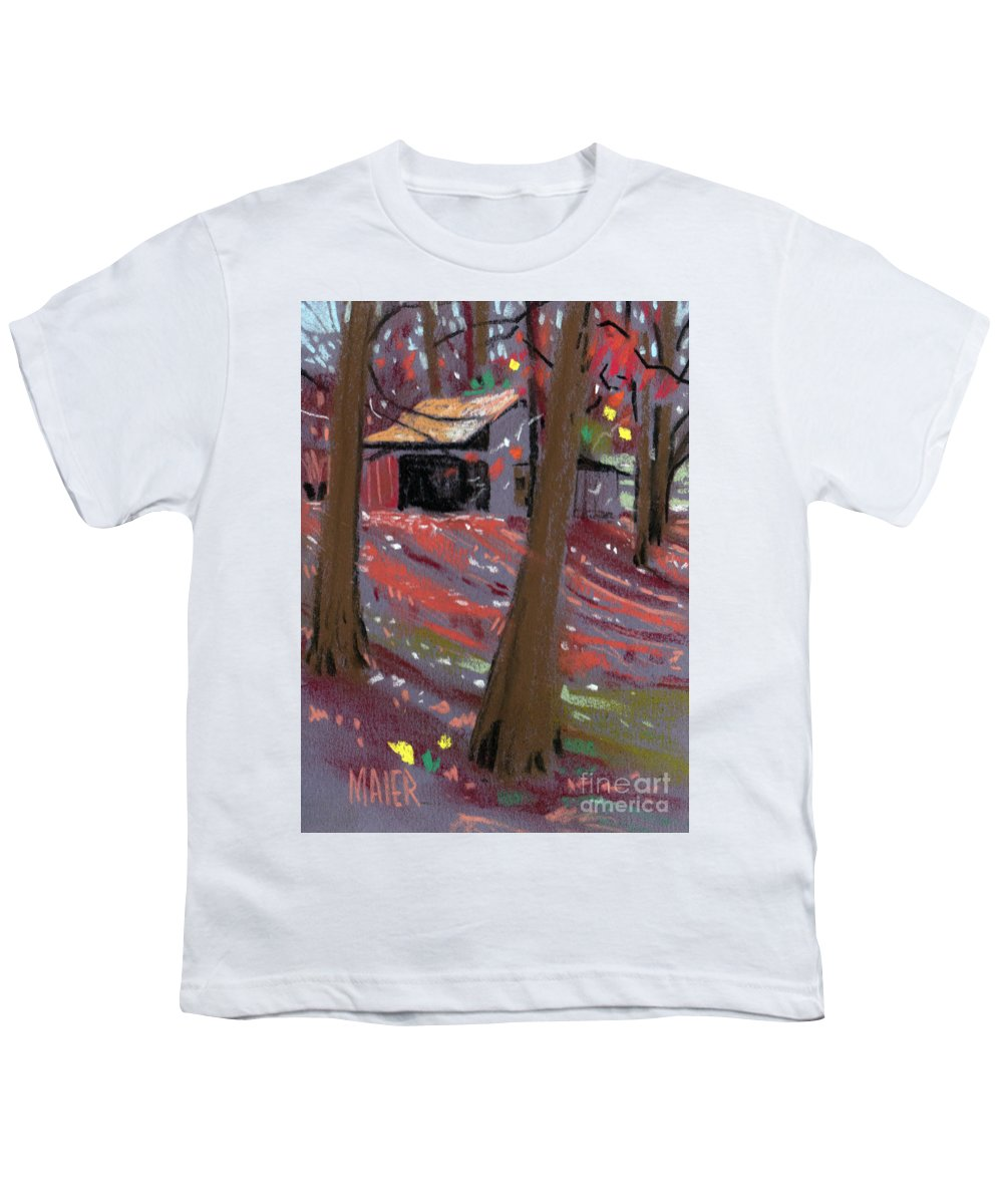 Barns Youth T-Shirt featuring the drawing James's Barns 3 by Donald Maier