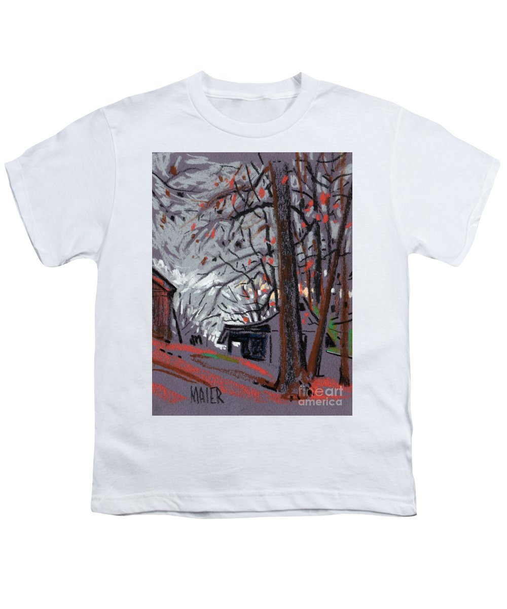 Barns Youth T-Shirt featuring the drawing James's Barns 7 by Donald Maier