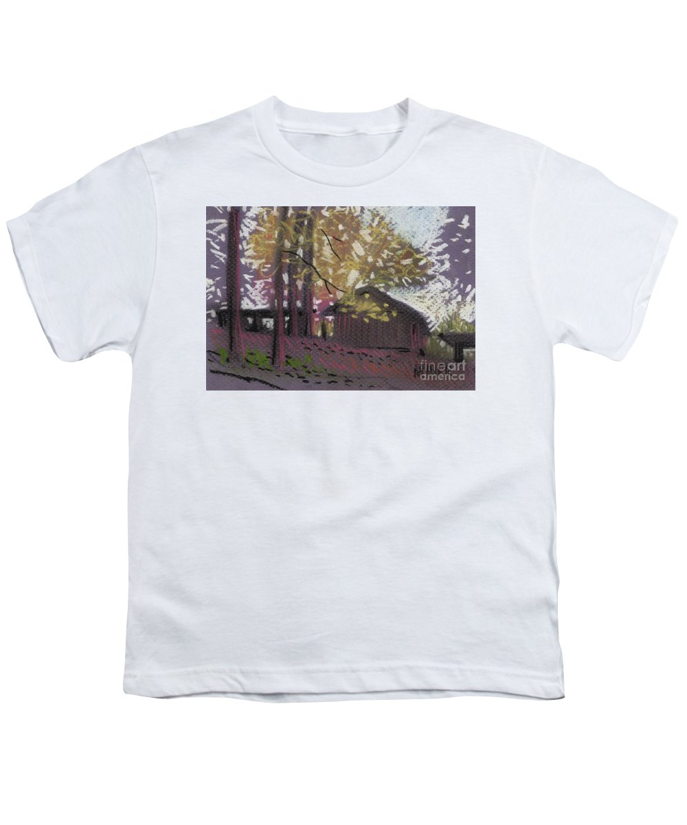 Pastel Youth T-Shirt featuring the drawing James's Barns 9 by Donald Maier