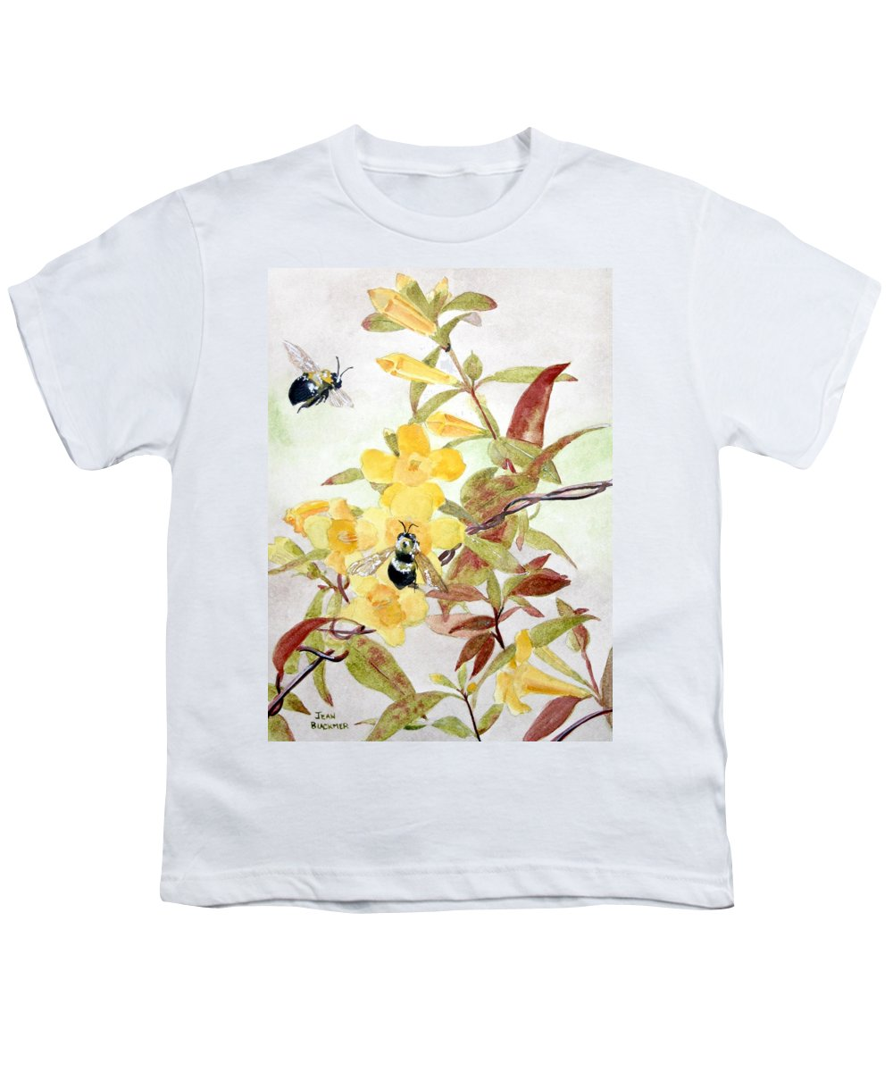 Jasmine Youth T-Shirt featuring the painting Jessamine Bee Mine by Jean Blackmer
