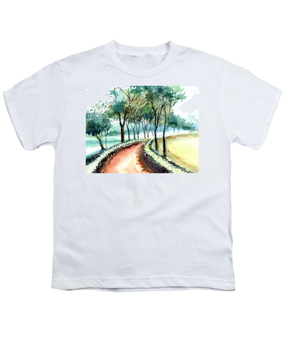 Landscape Youth T-Shirt featuring the painting Jogging Track by Anil Nene