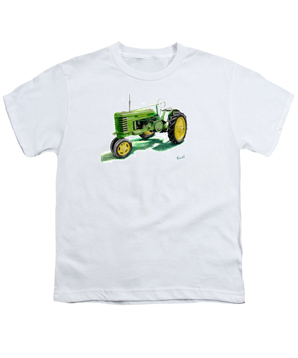 John Deere Tractor Youth T-Shirt featuring the painting John Deere Tractor by Ferrel Cordle