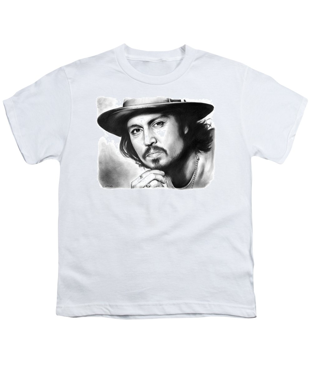 Johnny Depp Youth T-Shirt featuring the drawing Johnny Depp by Greg Joens