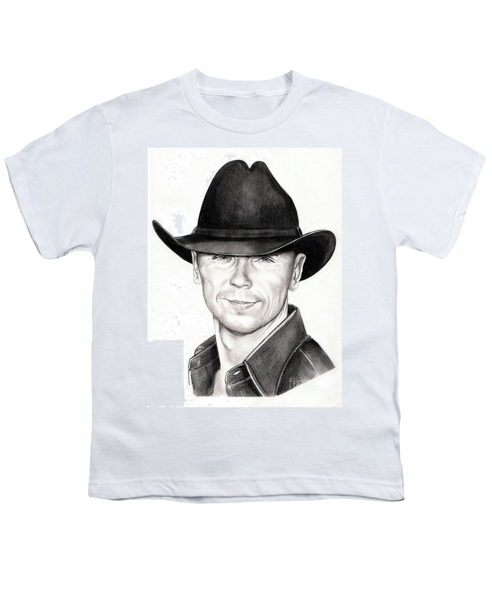 Portrait Youth T-Shirt featuring the drawing Kenny Chesney by Murphy Elliott