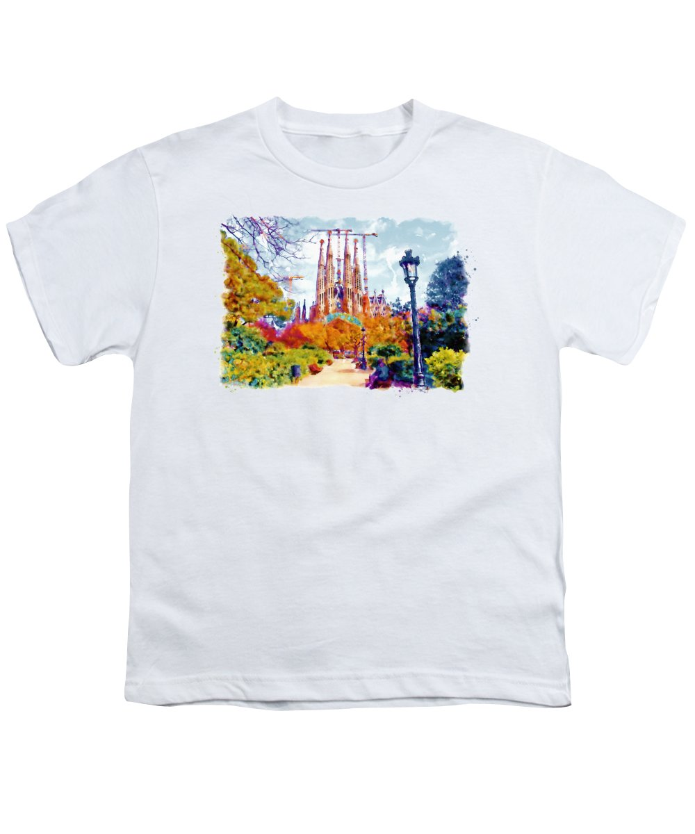 La Sagrada Familia Youth T-Shirt featuring the painting La Sagrada Familia - Park View by Marian Voicu