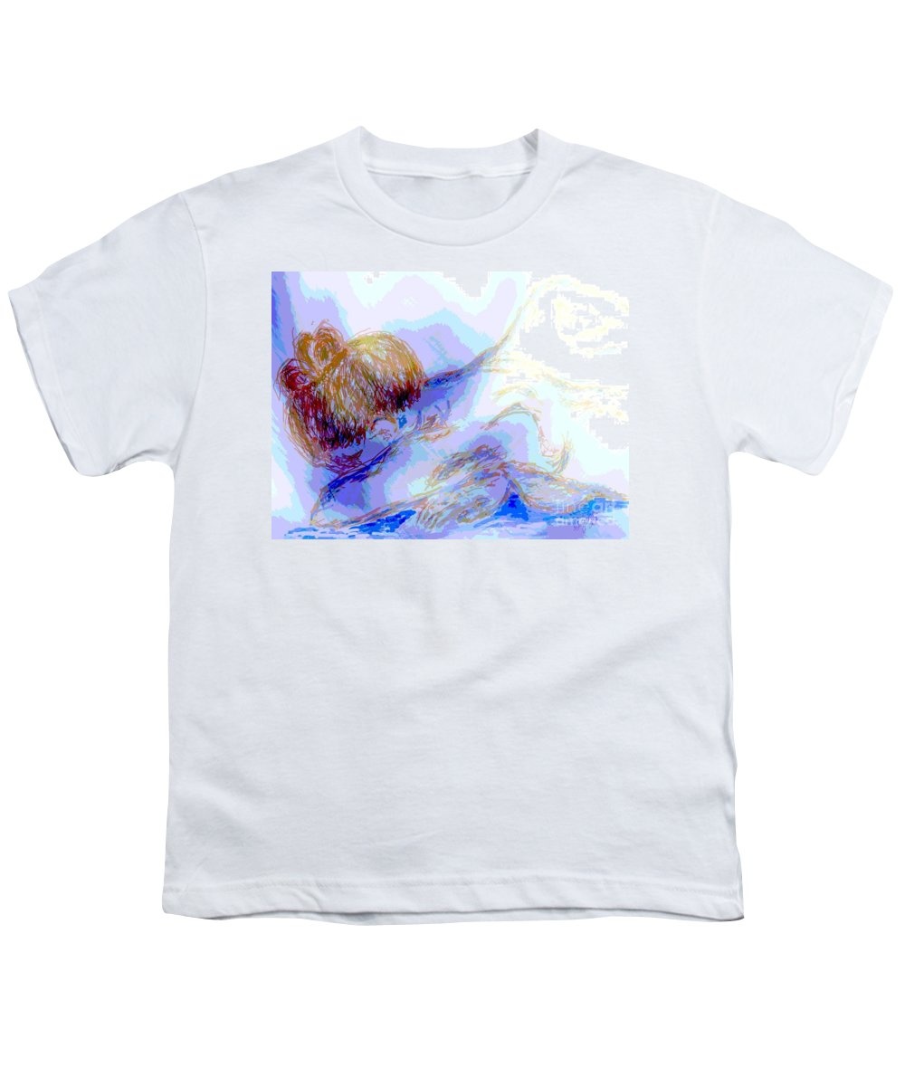 Lady Youth T-Shirt featuring the digital art Lady Crying by Shelley Jones