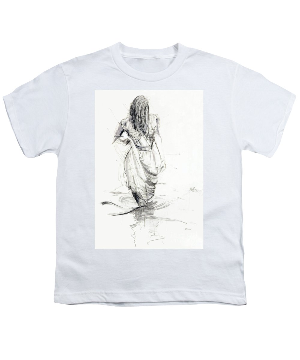 Woman Youth T-Shirt featuring the drawing Lady In The Waters by Kerryn Madsen-Pietsch