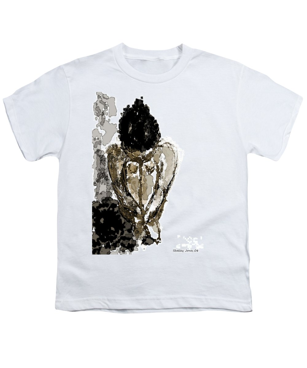 Lady Youth T-Shirt featuring the digital art Lady Sitting by Shelley Jones