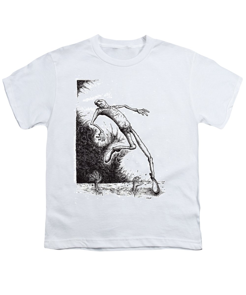 Black And White Youth T-Shirt featuring the drawing Leap by Tobey Anderson