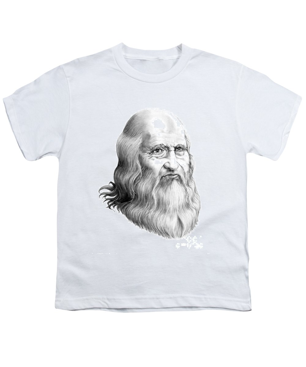 Famous Person Youth T-Shirt featuring the drawing Leonardo Da Vinci by Murphy Elliott