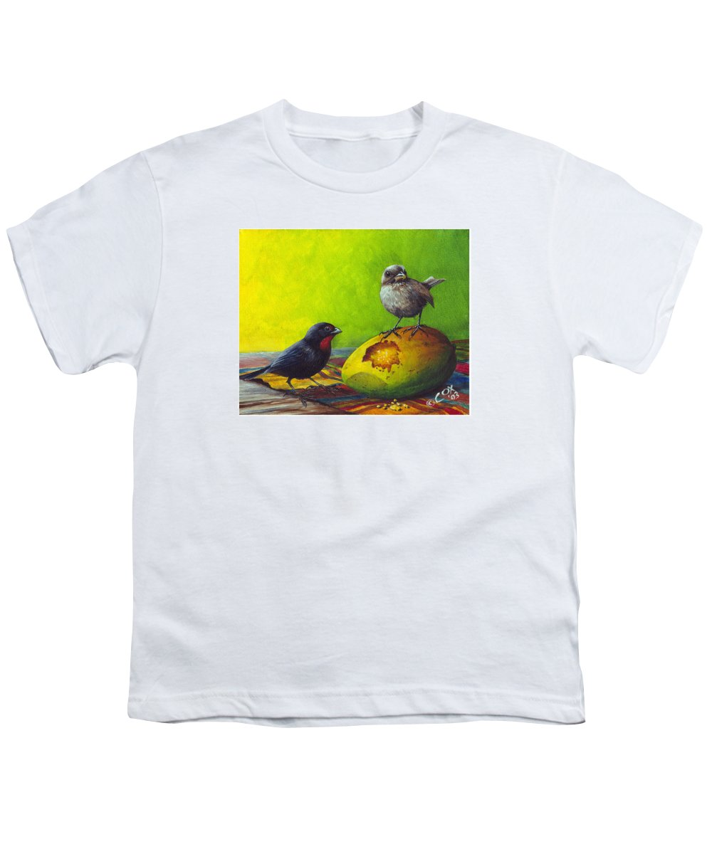 Chris Cox Youth T-Shirt featuring the painting Lesser Antillean Bullfinches And Mango by Christopher Cox
