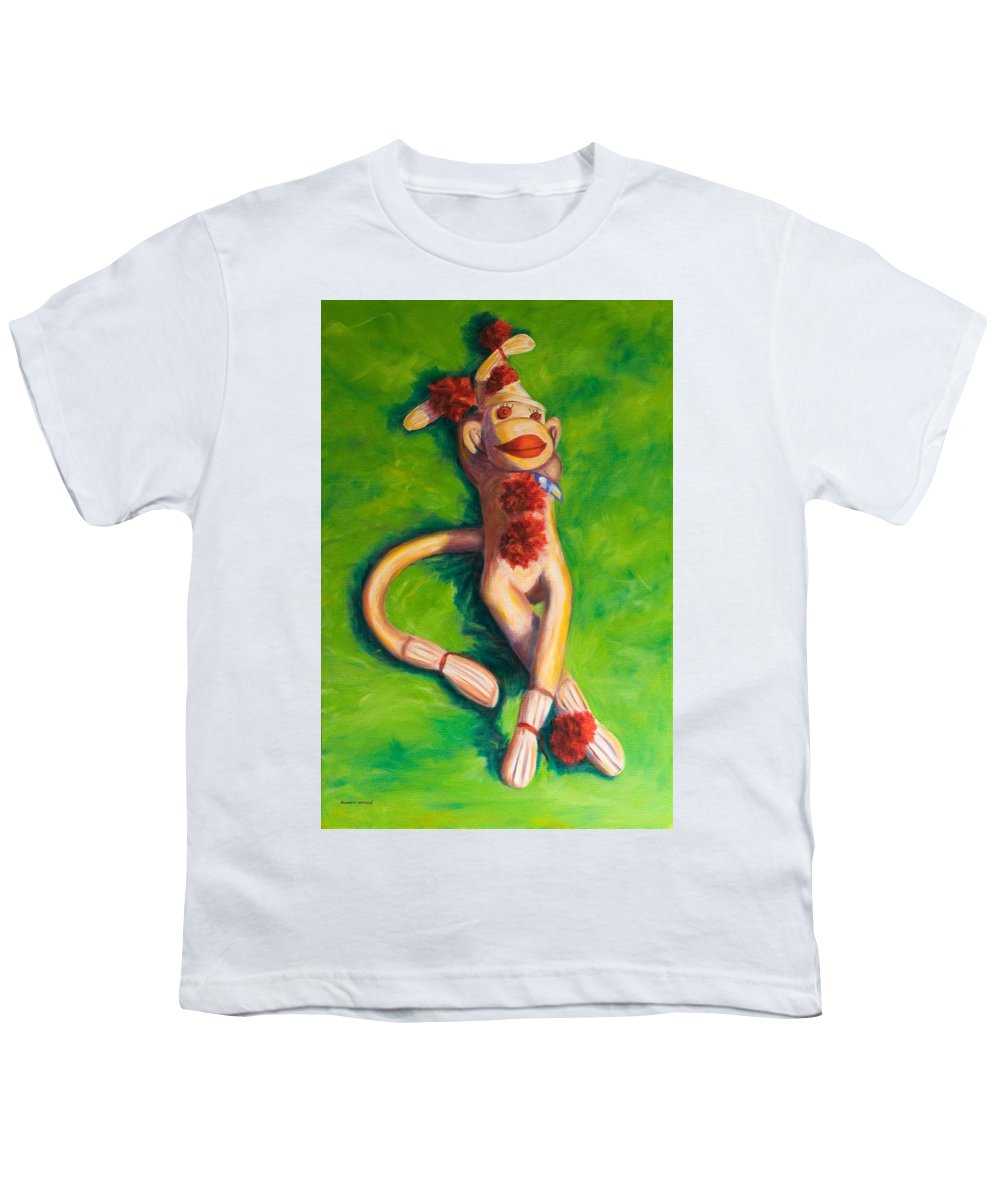 Sock Monkey Youth T-Shirt featuring the painting Life Is Good by Shannon Grissom