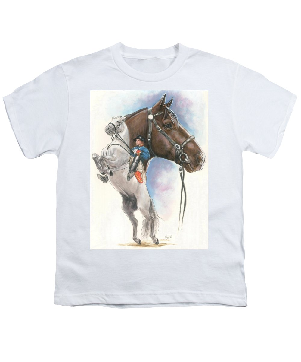 Equus Youth T-Shirt featuring the mixed media Lippizaner by Barbara Keith