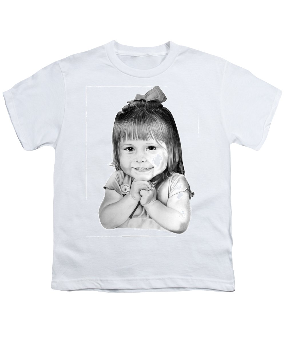Child Youth T-Shirt featuring the drawing Little Bailey by Murphy Elliott
