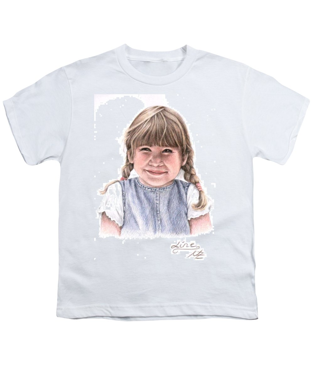 Girl Youth T-Shirt featuring the drawing Little Girl by Nicole Zeug