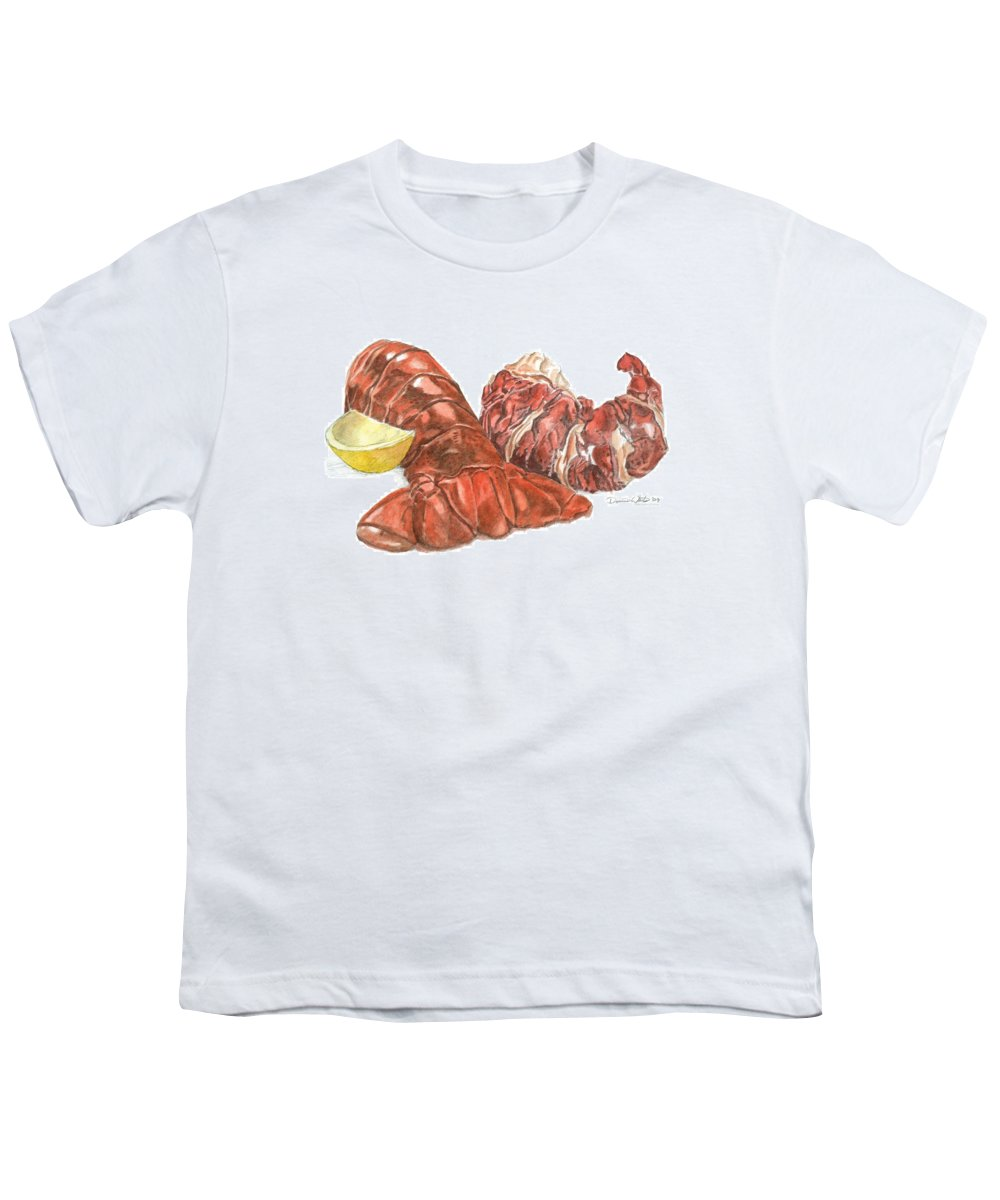 Lobster Youth T-Shirt featuring the painting Lobster Tail And Meat by Dominic White