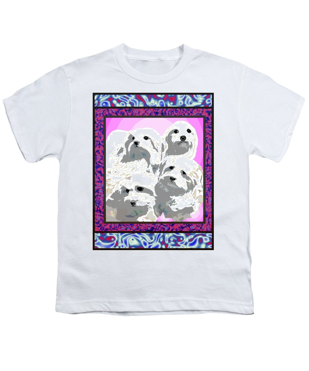 Maltese Group Youth T-Shirt featuring the digital art Maltese Group by Kathleen Sepulveda
