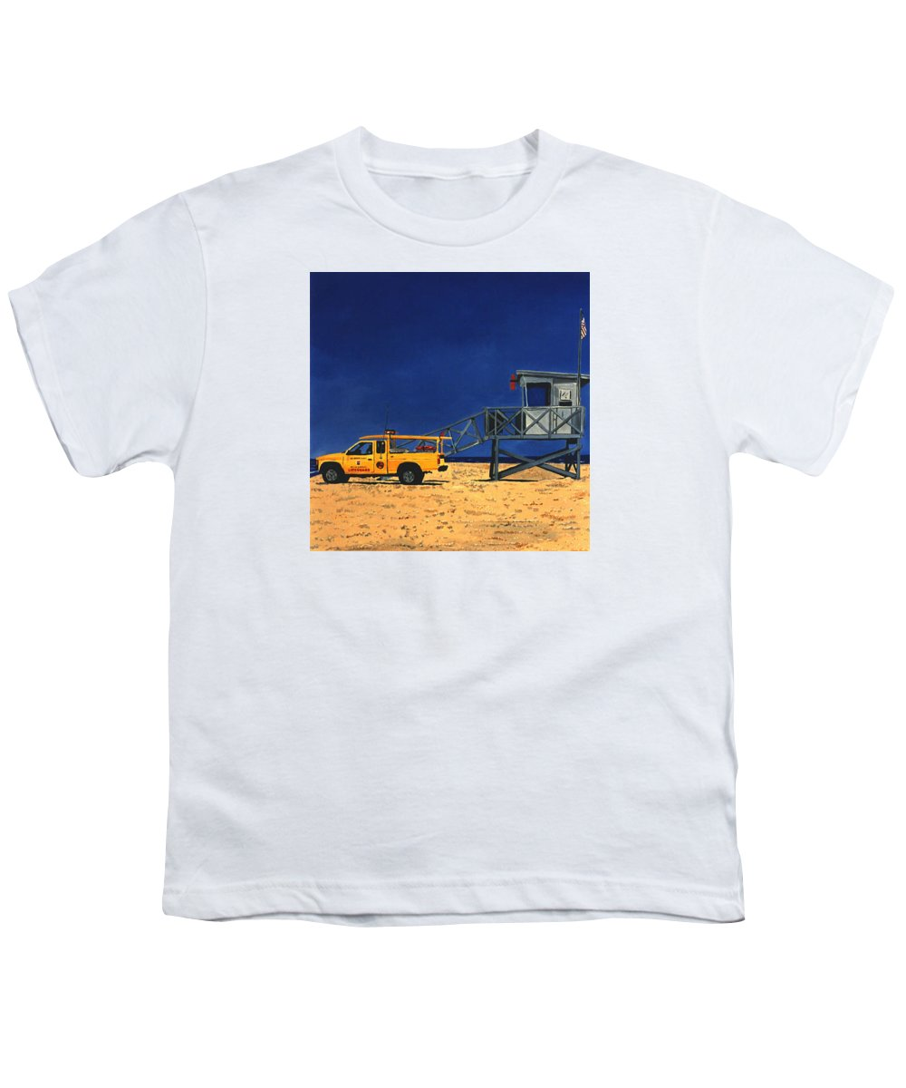 Modern Youth T-Shirt featuring the painting Manhattan Beach Lifeguard Station Side by Lance Headlee