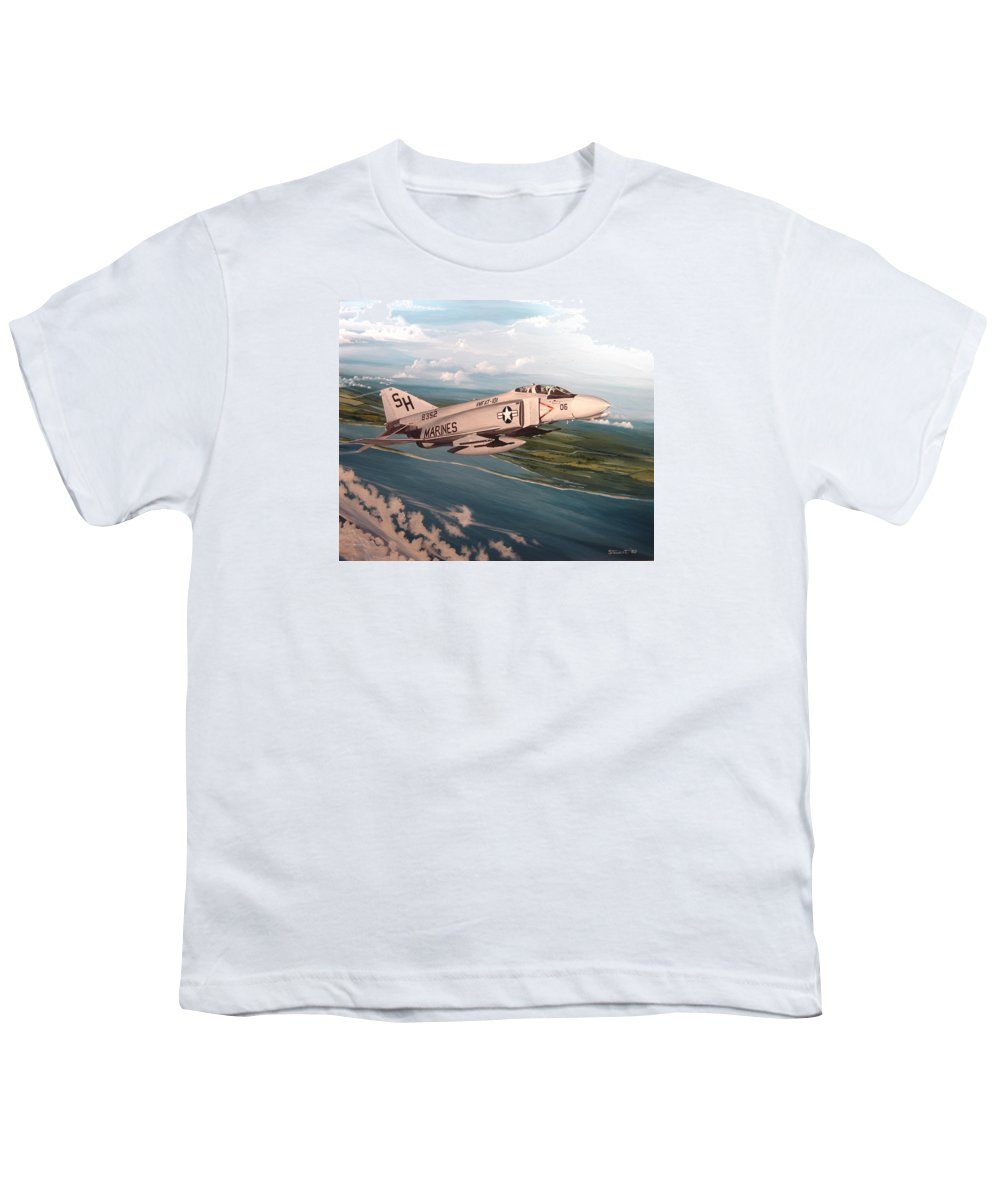 Aviation Youth T-Shirt featuring the painting Marine Phantom by Marc Stewart
