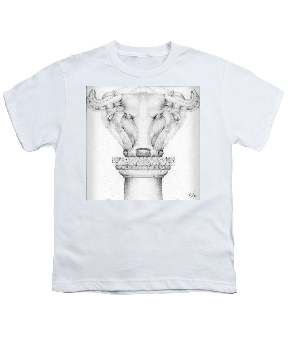 Bull Youth T-Shirt featuring the drawing Mesopotamian Capital by Curtiss Shaffer